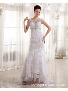 V Neck Ivory Lace / Beading Empire Satin / Lace Zipper Sleeveless Court Column / Sheath Wedding Dress