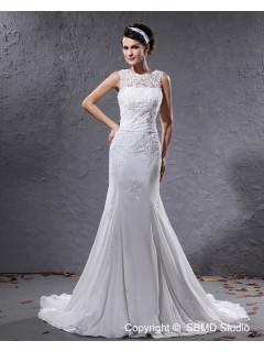 Jewel Empire A-line Applique / Beading / Sash Chiffon Ivory Sleeveless Court Zipper Wedding Dress