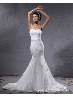Natural Applique / Beading / Sash Sweetheart Sleeveless Satin Ivory Zipper A-line Court Wedding Dress