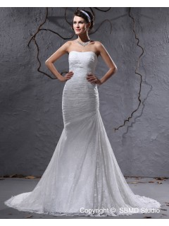 Satin Natural Sweetheart Ivory Ruffles Sleeveless Court Zipper A-line Wedding Dress
