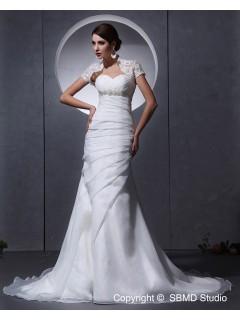 Ivory A-line Beading / Ruffles Chapel Sleeve Sweetheart Empire Zipper Organza Short Wedding Dress