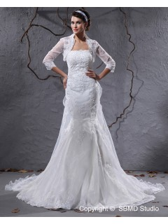 A-line Empire Court Zipper Strapless Applique / Beading Ivory Sleeve Satin / Organza Long Wedding Dress