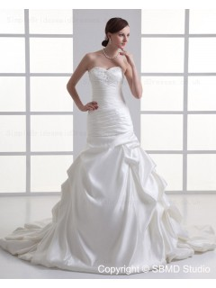 Satin Ivory A-line Sleeveless Sweetheart Court Lace Up Ruffles / Beading Natural Wedding Dress