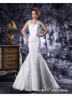 Court Natural Ivory Lace / Satin Sweetheart Sleeveless Beading / Embroidery Mermaid Zipper Wedding Dress