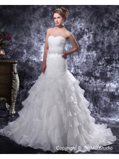 Court Organza Lace Up Natural Sweetheart Pleat / Beading / Ruffles Ivory Sleeveless Mermaid Wedding Dress