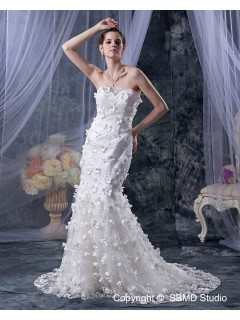 Mermaid Dropped Lace Beading / Hand Made Flower Zipper Sweetheart Ivory Sleeveless Cathedral Wedding Dress