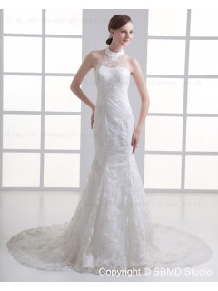 Lace Up Applique / Beading Mermaid Dropped Ivory Sleeveless Court Tulle / Satin Jewel Wedding Dress