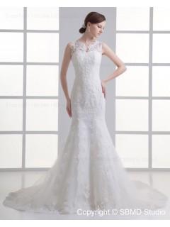 Ivory Zipper Applique / Beading Dropped Court Tulle Spaghetti Straps Sleeveless Mermaid Wedding Dress