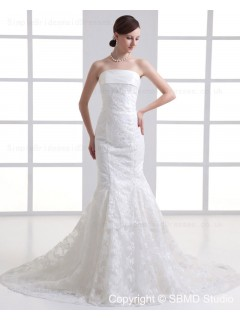 Dropped Court Ivory Mermaid Tulle Applique Sleeveless Zipper Beteau Wedding Dress