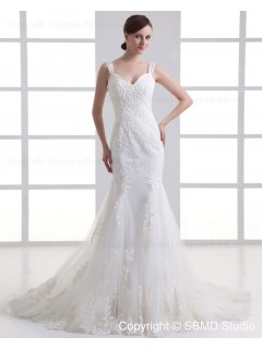 Zipper Dropped Sleeveless Tulle Ruffles / Beading Court Mermaid Spaghetti Straps Ivory Wedding Dress