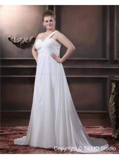 Empire Beading / Ruffles Lace Up Size Chiffon One Shoulder Sleeveless Ivory A-line / Plus Floor-length Wedding Dress