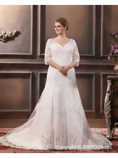 V Neck Lace Court Applique / Beading Dropped Sleeve Long Ivory Zipper A-line / Plus Size Wedding Dress