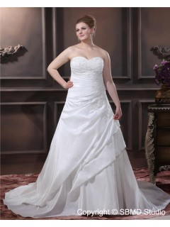 Lace Up Empire Sweep Embroidery / Beading Ivory A-line / Plus Size Taffeta Strapless Sleeveless Wedding Dress