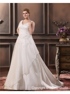 Dropped Satin / Lace Sleeveless Zipper Bowknot / Applique / Sash Size Floor-length A-line / Plus Sweetheart Ivory Wedding Dress
