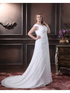 Sleeveless Chiffon Size Zipper V Neck Beading / Embroidery / Sash Empire Ivory A-line / Plus Chapel Wedding Dress