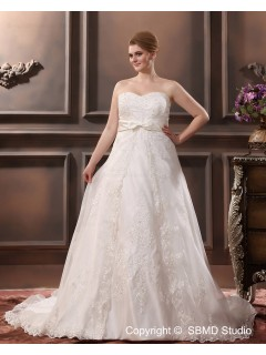 Empire Satin Bow / Sash / Lace Sweetheart Sleeveless Chapel Lace Up A-line / Plus Ivory Size Wedding Dress