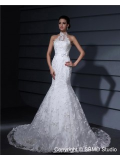 Zipper Satin Dropped Court Mermaid Ivory High Neck Sleeveless Applique / Lace / Sash Wedding Dress