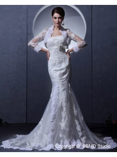 Strapless Lace Ivory Mermaid Beading / Applique / Sash Sleeve Court Zipper Long Empire Wedding Dress