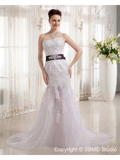 Ruffles / Beading / Applique / Sash Dropped Cathedral Satin / Tulle Mermaid Zipper Sleeveless Sweetheart Ivory Wedding Dress