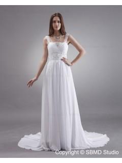Column / Sheath Spaghetti Straps Sleeveless White Zipper Sweep Satin / Chiffon Beading / Sash Empire Wedding Dress