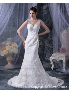 Sleeveless Dropped Ivory Applique / Lace Chapel Mermaid Zipper V Neck Lace / Satin Wedding Dress