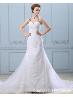 Satin / Organza A-line Court Zipper Natural Sleeveless Ivory Sweetheart Applique / Beading / Lace Wedding Dress