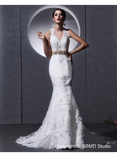 Applique / Lace / Sash / Beading Ivory Cathedral Sleeveless Halter Satin Mermaid Zipper Empire Wedding Dress