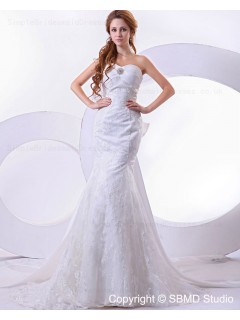 Beading / Embroidery Dropped Chapel Sleeveless Satin / Lace Ivory Zipper Mermaid Sweetheart Wedding Dress