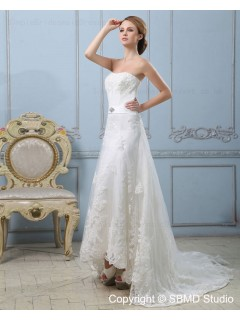 Strapless A-line Ivory Applique / Lace / Sash / Beading Sleeveless Natural Zipper Court Satin Wedding Dress