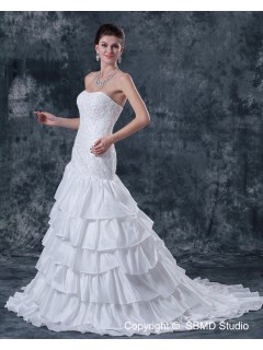 Dropped Ivory Sleeveless Lace Up Sweep Taffeta Strapless Mermaid Ruffles / Beading / Applique Wedding Dress