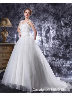 Chapel Square Zipper Beading / Applique Sleeveless A-Line / Ball Gown Ivory Organza / Lace Natural Wedding Dress