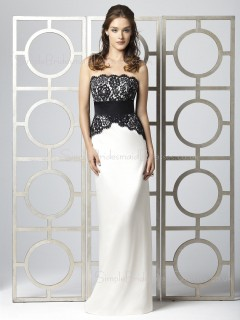 Strapless Zipper Sleeveless Sheath Lace/Sash Bridesmaid Dress