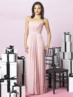 Pink Draped/Ruffles Sleeveless Floor-length Zipper Bridesmaid Dress