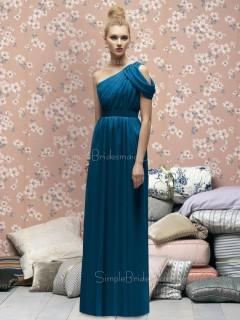 One-Shoulder A-line Draped/Ruffles Chiffon Sleeveless Bridesmaid Dress