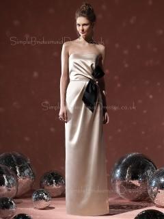 Strapless Natural Bow/Ruffles Elastic-Satin Sheath Bridesmaid Dress