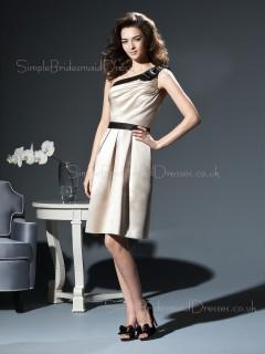 Satin Sleeveless One-Shoulder A-line Zipper Bridesmaid Dress