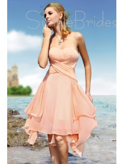 A-line Ruffles/Tiered Zipper Sleeveless Empire Bridesmaid Dress