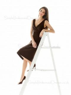 V-neck Ruffles A-line Sleeveless Empire Bridesmaid Dress