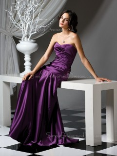 Sleeveless A-line Draped/Ruffles Grape Sweetheart Bridesmaid Dress