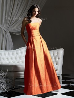Draped/Ruffles Zipper Taffeta Floor-length Sleeveless Bridesmaid Dress