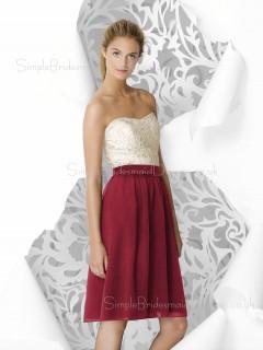 Knee-length Strapless Draped Zipper Burgundy Bridesmaid Dress