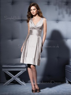 Empire Zipper Knee-length Taffeta Silver Bridesmaid Dress