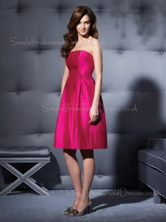 A-line Zipper Strapless Knee-length Taffeta Bridesmaid Dress