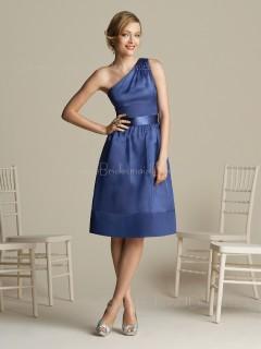 Lavender One-Shoulder Satin Sleeveless Knee-length Bridesmaid Dress