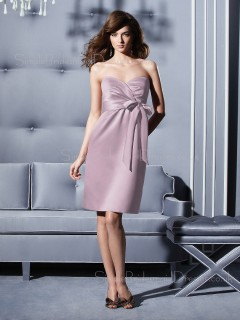 Lavender Chiffon Knee-length Sleeveless Sweetheart Bridesmaid Dress