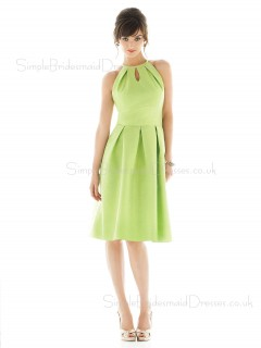 Taffeta Zipper High-Neck Green Draped/Ruffles Bridesmaid Dress