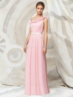 Pink Floor-length Chiffon Natural A-line Bridesmaid Dress