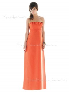Orange Empire Strapless A-line Sleeveless Bridesmaid Dress