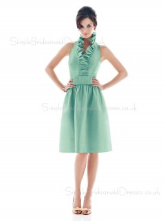 Light-Sky-Blue V-neck Sleeveless Knee-length Ruffles/Sash Bridesmaid Dress