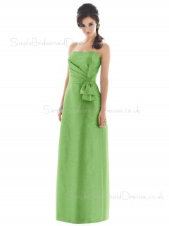 Bow/Ruffles Green Floor-length Strapless Satin Bridesmaid Dress